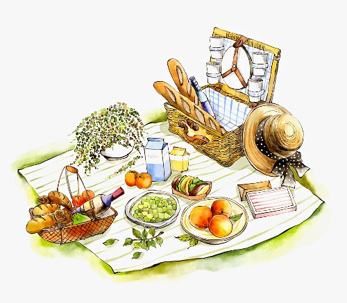 Picknick auf Picknickdecke (Illustration)
