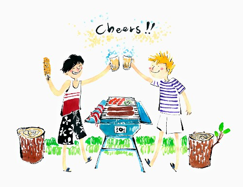 Two friends raising glasses of beer over a BBQ (illustration)