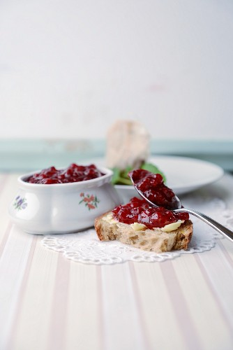 Bread with redcurrant jam