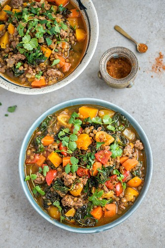 Spicy lentil and kale stew with lamb