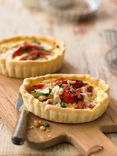 Roasted pepper quiches