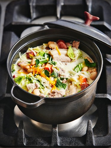Pork belly and root vegetable stew in a pot on a stove