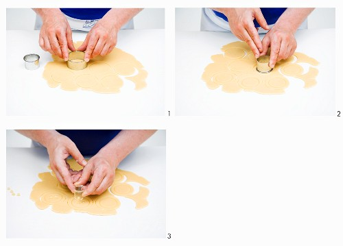 Button biscuits being made