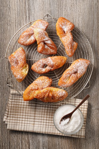 Plate of Fried Dough with Powdered Sugar
