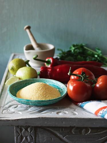 An arrangement of ingredients for a couscous dish