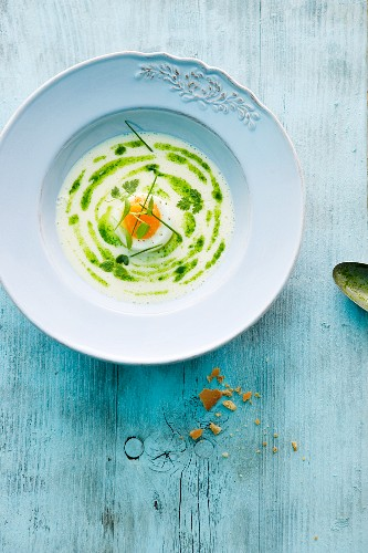 Herb soup with egg