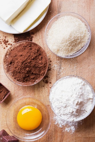 Ingredients for chocolate biscuits