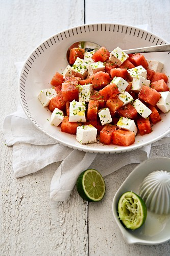 Watermelon and feta cheese salad with a lime dressing