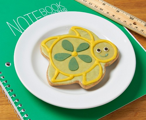 A turtle shaped biscuit decorated with icing on a notebook