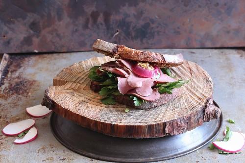 Sandwich mit Pastrami und Radieschen auf Holzscheibe