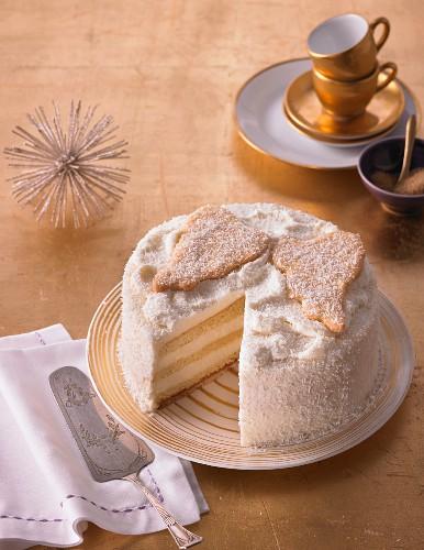 A heavenly coconut cream cake, sliced