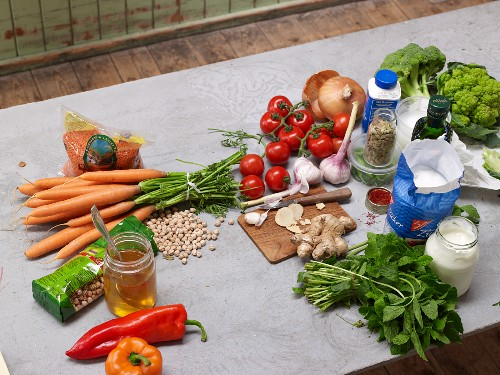 Various ingredients for vegetarian dishes