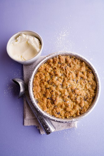Peach crumble with lavender and coconut sour cream sorbet