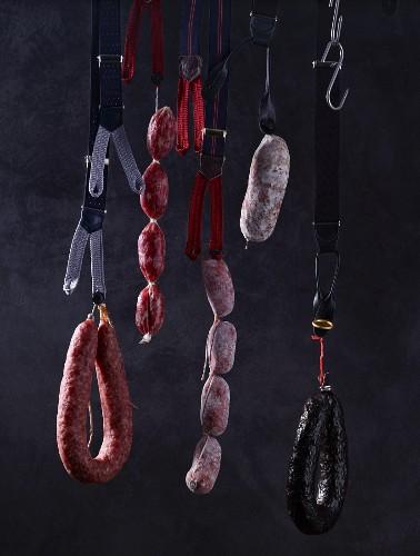 Salami hanging on braces