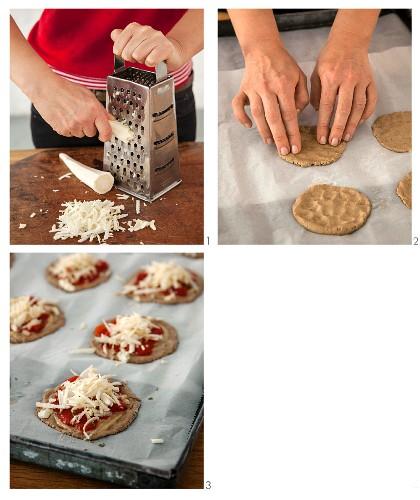 Mini vegan teff flour pizzas with Hamburg parsley being made