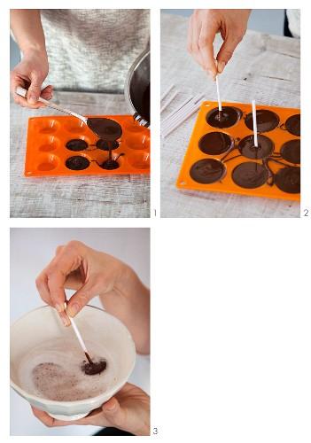 Vegan drinking chocolate lollies being made