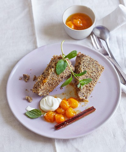Poppyseed pudding with amaranth and physalis ragout