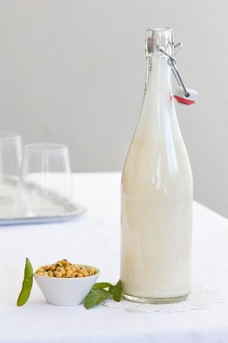 Eine Flasche Sojadrink und ein Schälchen Smoothie