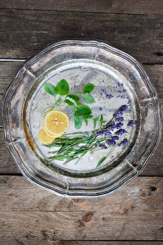 ingredients for gin and tonic with lavender flowers on a silver tray