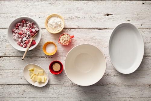 Ingredients for raspberry crisp (USA)