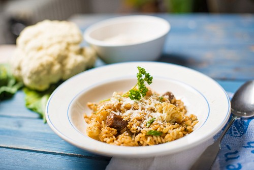 Risotto all'abruzzese (risotto with cauliflower and spicy sausage, Italy)