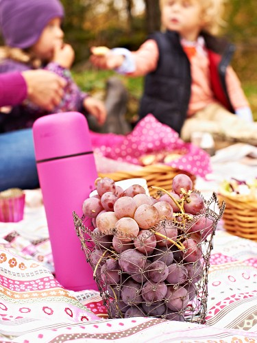 Grapes and a hot drink in a thermos flask for an autumn family picnic