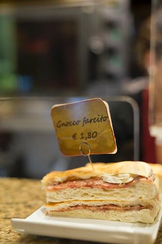 Gnocco farcito (an Italian sandwich) in a bar