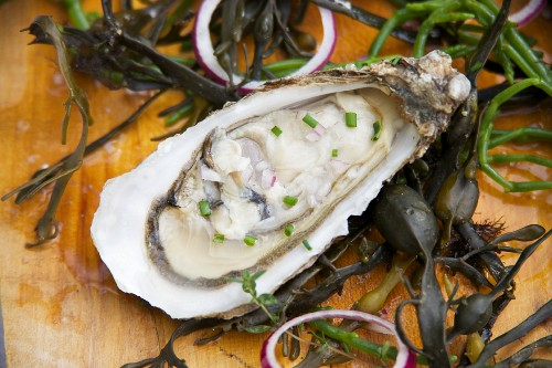 An oyster with chives and shallots
