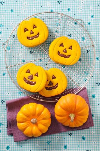 Halloween biscuits and mini pumpkins