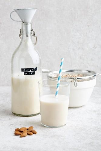 Vegan almond milk and almonds