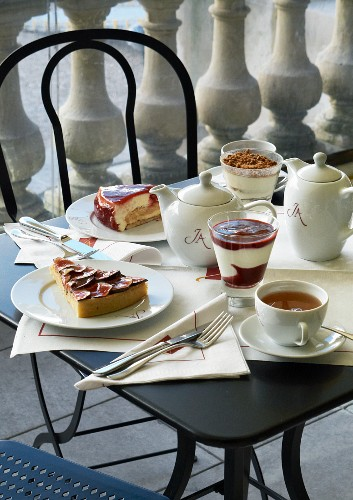 Teatime with cake and desserts in a restaurant