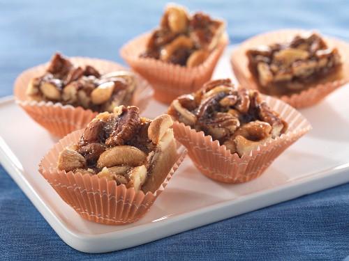 Pecan nut bites in paper cases