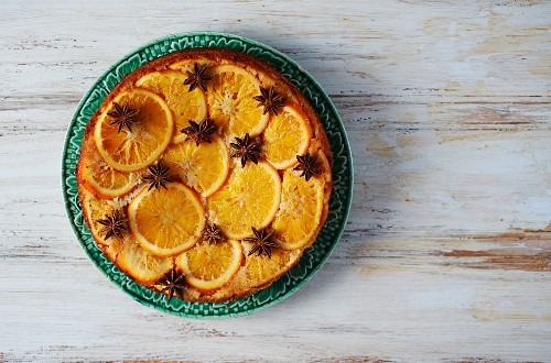 Upside-down flourless orange cake with star anise