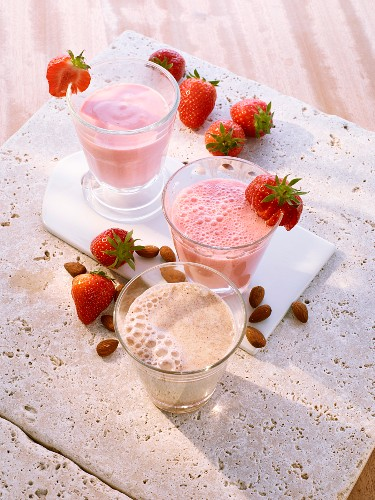 Frozen strawberry ayran, buttermilk with strawberries and almond milk