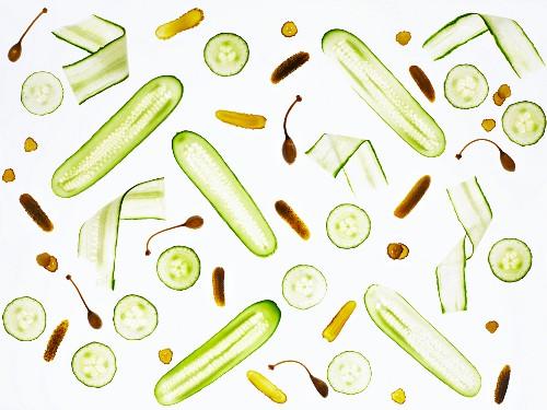 Fresh, back-lit cucumber and gherkins