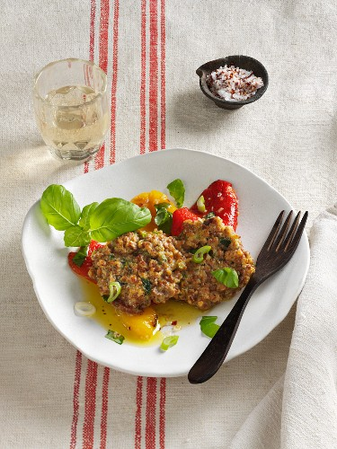 Soya fritters with marinated peppers (vegetarian)