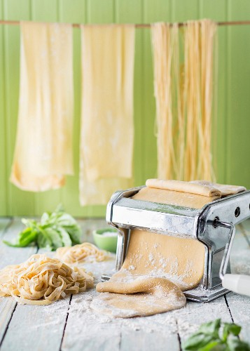 Fresh homemade pasta and pasta machine