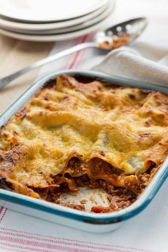Lasagna in a lasagna dish