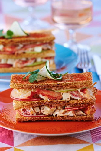 Mille feuilles with a lobster and apple salad