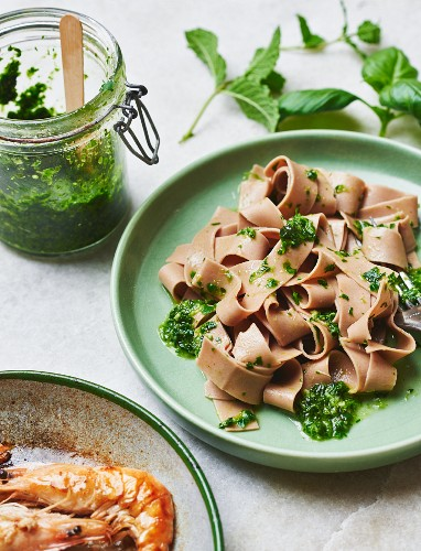 Chestnut pasta with herb pesto