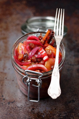 Red onion and dried apricot chutney in a jar