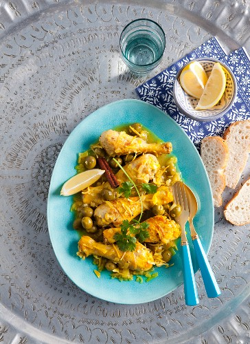 Chicken tagine with lemon, honey and olives