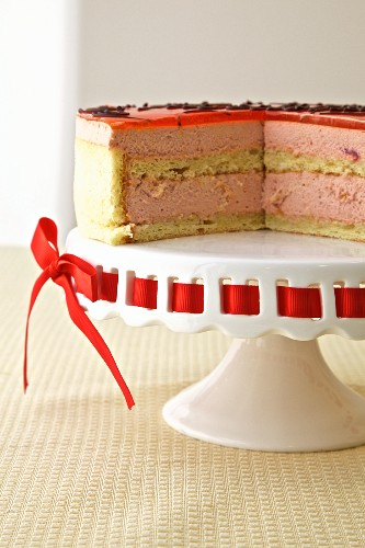Passionata sponge finger cake with passion fruit, raspberry mousse and cherry syrup (France)