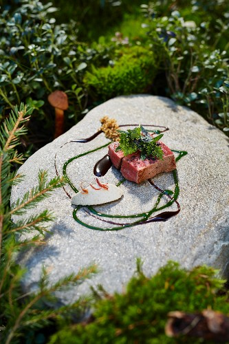 Beef with sunflower cream by Heinrich Schneider chef and owner of the Auener Hof restaurant, South Tyrol, Italy