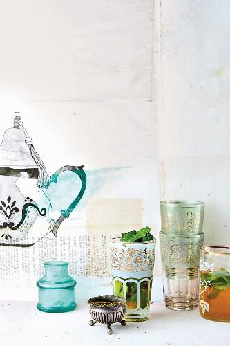 Still-life arrangement of Moroccan tea set