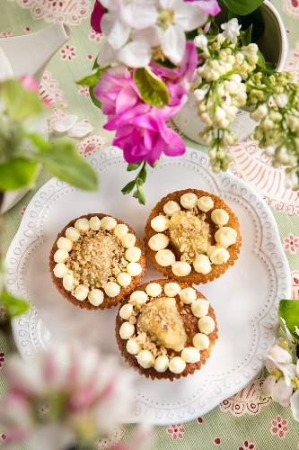 Apple cupcakes topped with streusel
