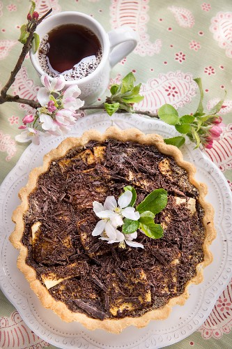 Apple tart topped with chocolate sprinkles