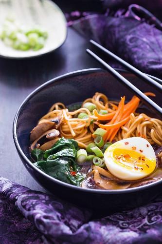 Ramennudelsuppe mit Rindfleisch, Gemüse und gekochtem Ei (Asien)