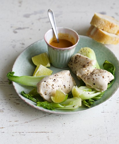 Chicken fillet with bok choy and peanut sauce