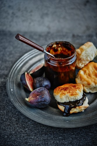 Fig jam with warm buttermilk biscuits